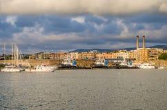 Civitavecchia harbor with fishing boats Royalty Free Stock Photos