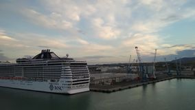 Civitavecchia, Italy - Oct 05, 2018: Board and stern of cruise liner on parking in port