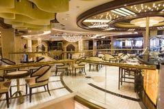 Bar lounge area on the cruise ship Royal Princess. Civitavecchia, Italy-20th September 2017: Bar lounge area on the cruise ship Royal Princess. The ship is part Royalty Free Stock Image