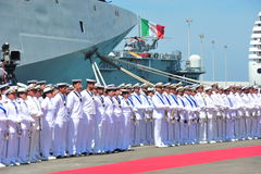 Civitavecchia Rome Italy Some sailors from the Italian Navy deployed under the Alpine Warship waiting for the authorities for Day Royalty Free Stock Photos