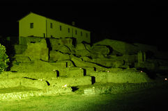 Civitavecchia,Rome Italy Terme Taurine night. Terme Taurine is a Roman archaeological site located in Civitavecchia, isolated, on a hill just a few kilometers royalty free stock images