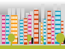 Ciy. Illustration of modern city with trees Stock Photography