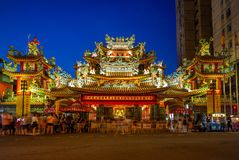 Night view of songshan Ciyou Temple near raohe street. Ciyou Temple is a folk temple in Songshan District, Taipei, Taiwan. The temple is dedicated to the goddess Royalty Free Stock Images