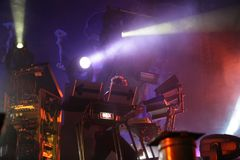 Liam Howlett sound producer musician on stage, the Prodigy, concert in Russia 2005 royalty free stock photo