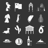Cjile travel icons set grey vector. Cjile travel icons set vector white isolated on grey background Royalty Free Stock Images
