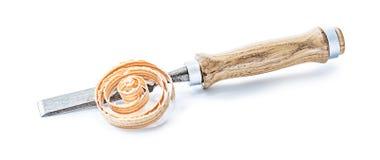 Cjissel de travail du bois avec la poignée en bois et l'I de rasage courbé en bois photos stock