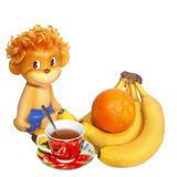 Cjvgjsition with fruit's. Tropical fruit's and tea cup Royalty Free Stock Photos