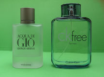 Ck and Armani eau de toilette. PARIS, FRANCE - CIRCA MAY 2017: Armani Acqua di Gio, Calvin Klein free for men eau de toilette, evergreen bestselling perfumes royalty free stock photography