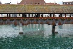 Cke del ¼ di LUCERNA Kapellbrà (ponte della cappella) Fotografie Stock