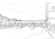 Cketch of the old bridge. In Florence. Italy Stock Photography