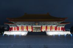 CKS Chiang Kai Shek Memorial Hall, Taipei, Taiwan. At night. The meaning of the Chinese text on the archway is `Liberty Square royalty free stock images