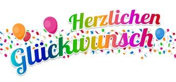 Ckwunsch de ¼ de Herzlichen Glà - vecteur de joyeux anniversaire Photographie stock libre de droits