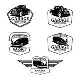 Clássico da garagem e vetor do logotipo das peças da restauração e do costume ilustração royalty free
