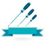 Clássicos agradáveis apertam chaves de fenda do azul três do metal no branco Imagem de Stock Royalty Free