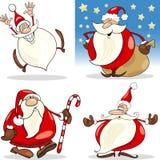 Cláusulas de Santa de la Navidad de la historieta fijadas stock de ilustración
