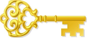 clé antique d'or d'ENV fleurie illustration stock