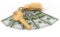 Clé au véhicule et aux dollars Image stock