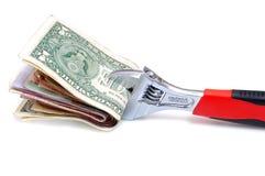 Clé avec de l'argent sur un blanc Images libres de droits