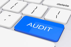 Clé bleue d'audit sur le clavier blanc de PC rendu 3d Photographie stock libre de droits