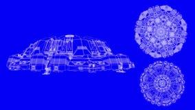 Cl? bleue de chroma de croquis de mise au point de vaisseau spatial banque de vidéos