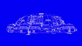 Cl? bleue de chroma de croquis de mise au point de vaisseau spatial clips vidéos
