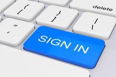 Clé bleue de connexion sur le clavier blanc de PC rendu 3d Photographie stock libre de droits