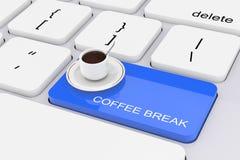 Clé bleue de pause-café sur le clavier blanc de PC rendu 3d Image stock