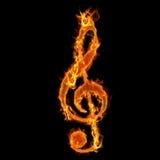 Clé brûlante de musique Photos libres de droits