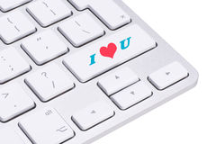 Clé d'amour sur le clavier d'ordinateur Photo stock