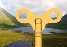 clé 3D au-dessus du paysage des lacs Image stock