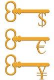 Clé d'or avec le symbole monétaire du dollar, d'euro et de Yens Image stock