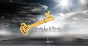 clé 3d contre le paysage nuageux de la route et de la ville Photo stock