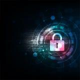 Clé dans le concept de sécurité sur le fond bleu-foncé Images libres de droits