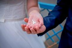 Clé dans les mains des nouveaux mariés Images libres de droits