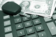 Clé de calculatrice, de momey et de véhicule images stock