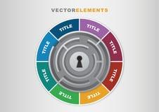 clé de calibre d'Infographic du vecteur 3D au concept de succès avec le labyrinthe Photo libre de droits