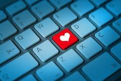 Clé de clavier de coeur Photographie stock libre de droits