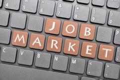 Clé de marché du travail sur le clavier Photographie stock