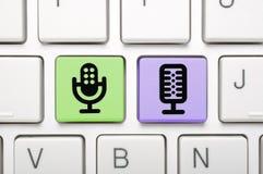 Clé de microphone sur le clavier Photographie stock