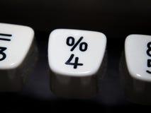 Clé de pour cent et de numéro quatre sur la machine à écrire de vintage Image libre de droits