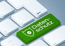 Clé de protection des données - clavier avec l'illustration du concept 3D - Allemand-traduction : Datenschutz Photo stock
