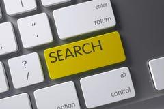 Clé de recherche jaune sur le clavier 3d Images libres de droits