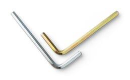 Clé de sortilège blanche et jaune d'électrodéposition de zinc Photographie stock