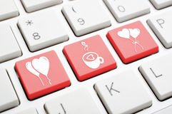 Clé de symbole d'amour sur le clavier Images stock