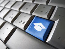 Clé en ligne de PC d'éducation d'Elearning Images libres de droits