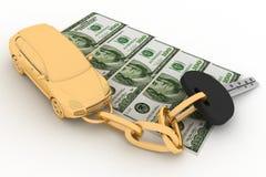 Clé et dollars de véhicule illustration de vecteur