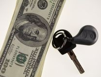 Clé et dollars de véhicule Photos stock