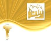 Clé et maisons d'or Image stock