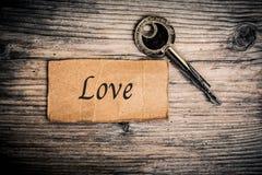 Clé et texte (amour) Image libre de droits