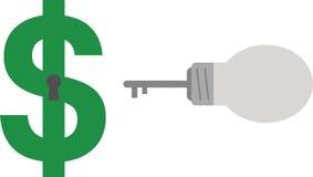 Clé et trou de la serrure d'ampoule avec le dollar Image libre de droits